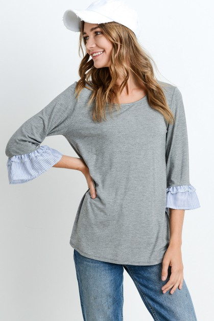 Solid Top With Stripe Ruffled - orangeshine.com