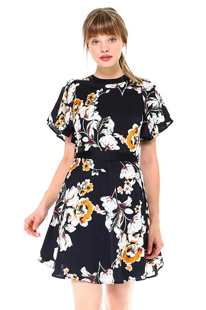 Mock-neck Floral Dress - orangeshine.com