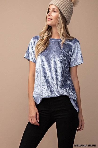 SHORT SLEEVE VELVET TOP - orangeshine.com