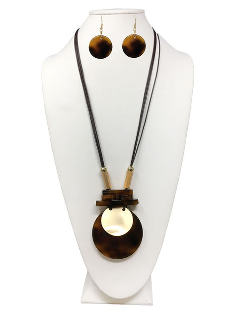 TWO TONE ROUND NECKLACE WITH EARRING - orangeshine.com