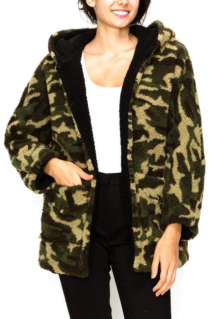 Camo Faux Fur Hooded Plush Coat - orangeshine.com