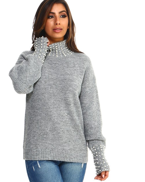 -Pearl Embellished Mock neck Sweater - orangeshine.com
