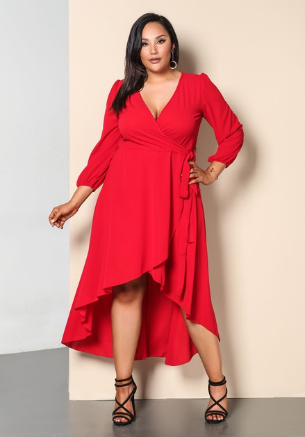Solid Plus Size V Neck Maxi Dress - orangeshine.com