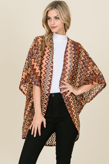 PATTERN PRINT SHEER CARDIGAN - orangeshine.com