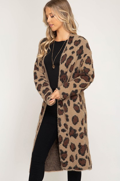 LONG SLEEVE LEOPARD FUZZY CARDIGAN - orangeshine.com