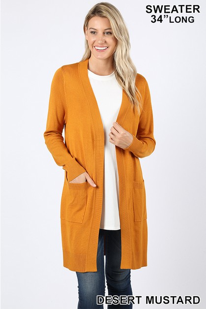 OPEN CARDIGAN SWEATER WITH POCKETS - orangeshine.com