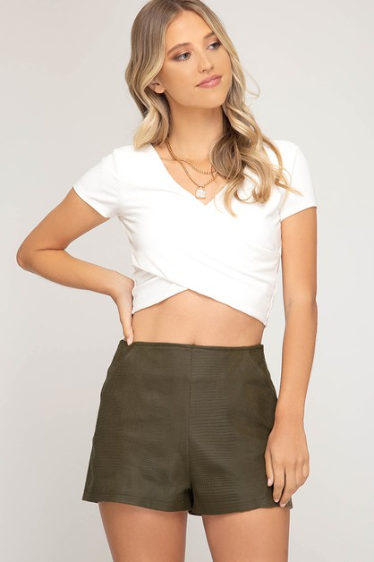 FAUX LEATHER HIGH WAISTED SHORTS - orangeshine.com