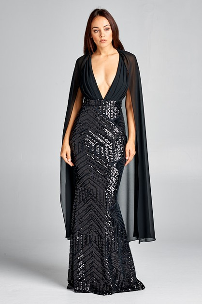 V-Neck Sequin Long Dress - orangeshine.com