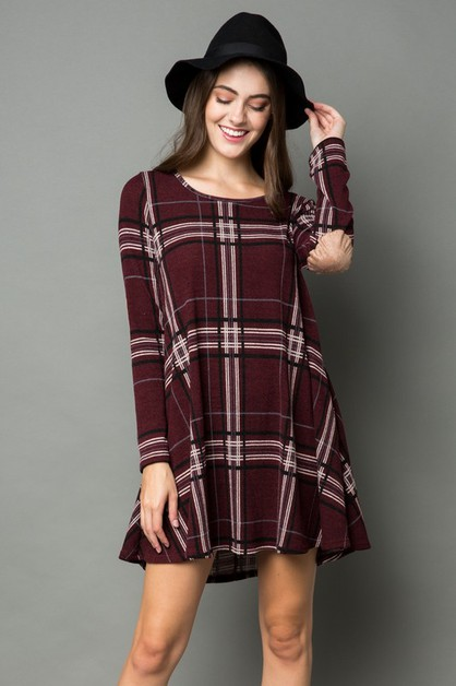 PLAID KNIT DRESS WITH ELBOW PATCH  - orangeshine.com