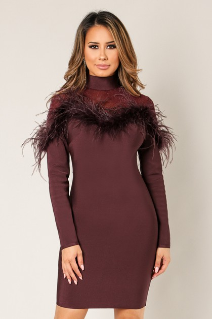 Fur Trim Mock Neck Bandage Dress - orangeshine.com