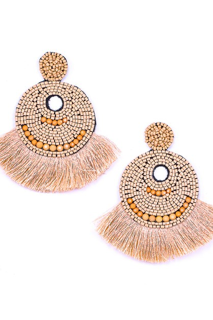 Boho Beaded Fringed Dangle Earrings - orangeshine.com