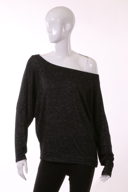 BRUSHED OFF SHOULDER TOP - orangeshine.com