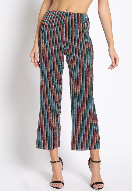 GLITTER STRIPE CROPPED PANTS - orangeshine.com