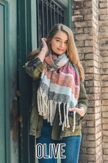 Soft Oversized Wide Tassel Scarf - orangeshine.com
