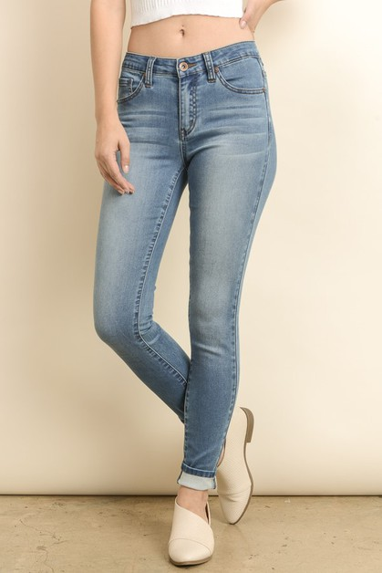 MID RISE BASIC STRETCH SKINNY JEANS - orangeshine.com