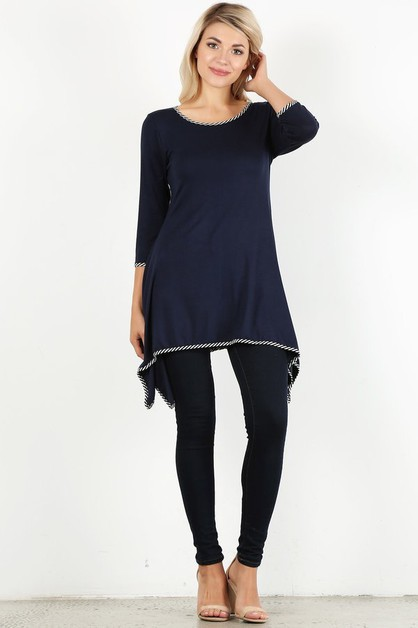 Solid long body top in a relaxed fit - orangeshine.com