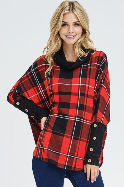 Cowl Neck Plaid Sweater - orangeshine.com