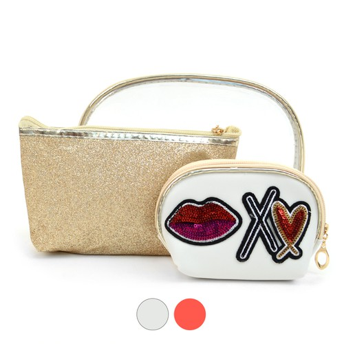 Ladies Clear and Kiss Make Up Pouch  - orangeshine.com
