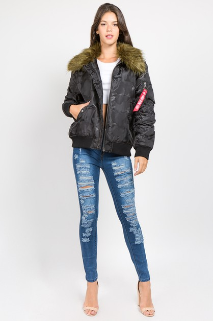 PLUS SIZE CAMO BOMBER WITH FUR  - orangeshine.com