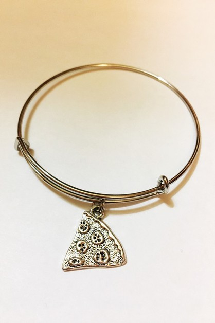 pizza charm expandable bangle - orangeshine.com