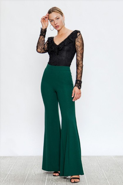 SOLID FLARED PANTS WITH CENTER SEAM - orangeshine.com