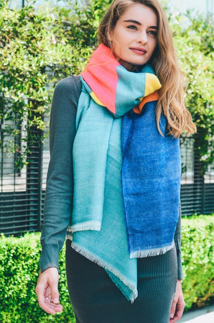 Neon Color Block Scarf - orangeshine.com