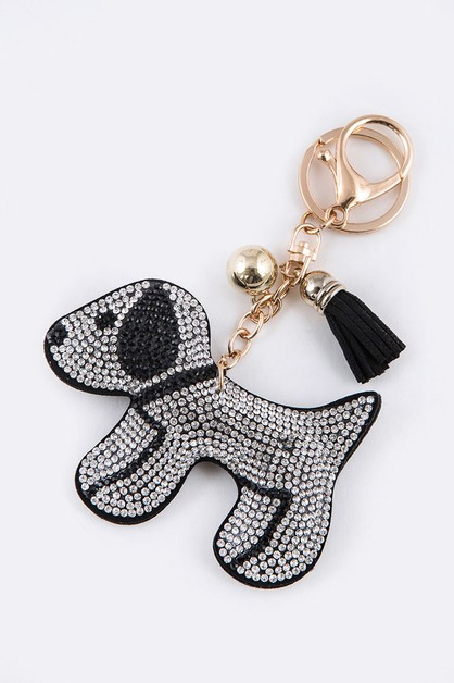 Crystal Dog Puffy Key Chain - orangeshine.com