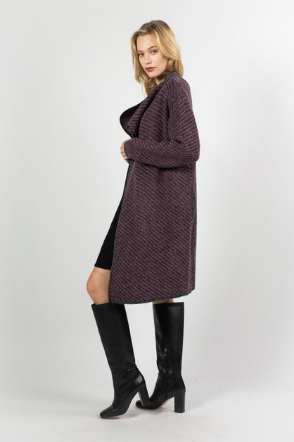 Knit Long Jacket-like Coat - orangeshine.com