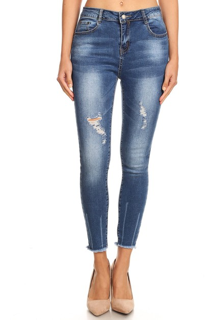 HIGH WAIST DISTRESSED JEANS - orangeshine.com