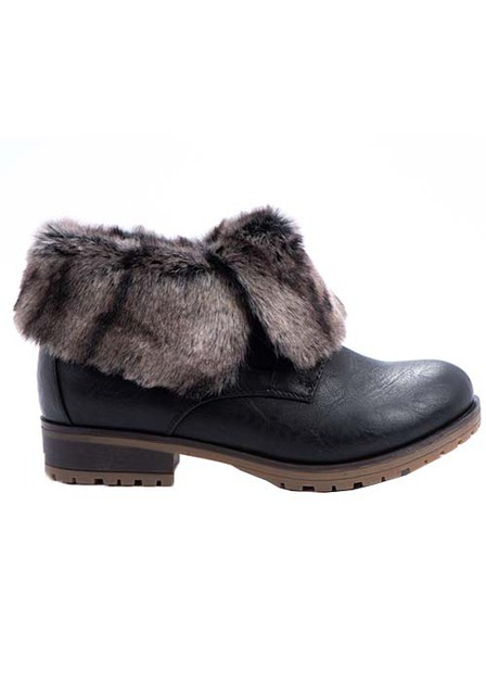 FUR SHORT ANKLE BOOTIE PU WITH LACE - orangeshine.com