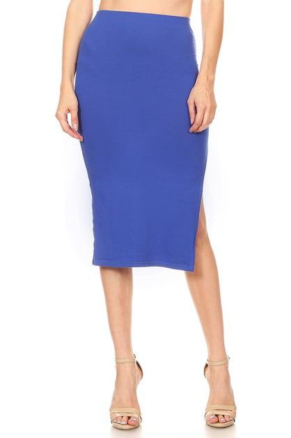 KNIT HIGH WAIST SIDE SLIT SKIRT - orangeshine.com