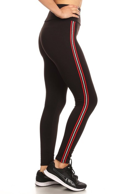 Black Fleece Lined Sports Leggings  - orangeshine.com