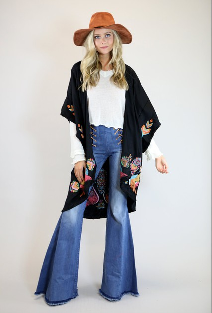 BLACK BOHO BIRD EMBROIDERED KIMONO - orangeshine.com