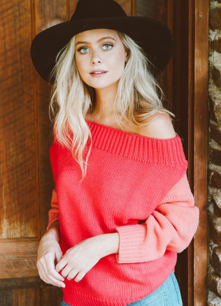 CORAL TWO TONED SWEATER - orangeshine.com