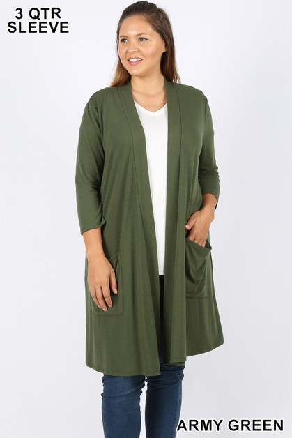 PLUS SLOUCHY POCKET OPEN CARDIGAN - orangeshine.com