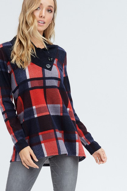 Plaid Long Sleeve Sweater - orangeshine.com