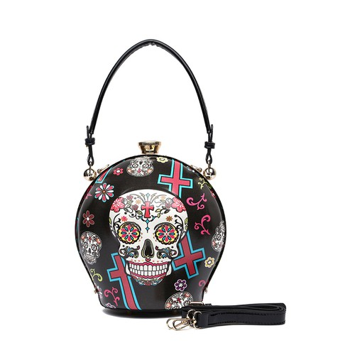 Sugar Skull Top Handle Round Bag - orangeshine.com