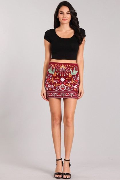 Floral Embroidered Mini Skirt - orangeshine.com