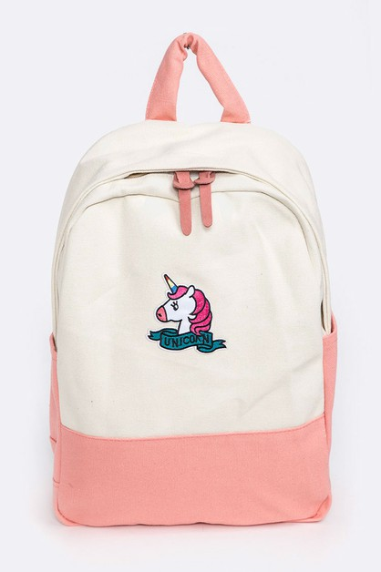 Unicorn Patch Canvas Backpack - orangeshine.com