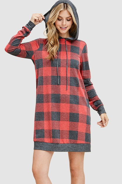 CHECKER TUNIC DRESS WITH HOODIE - orangeshine.com