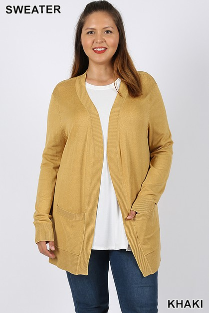 PLUS OPEN CARDIGAN SWEATER  - orangeshine.com
