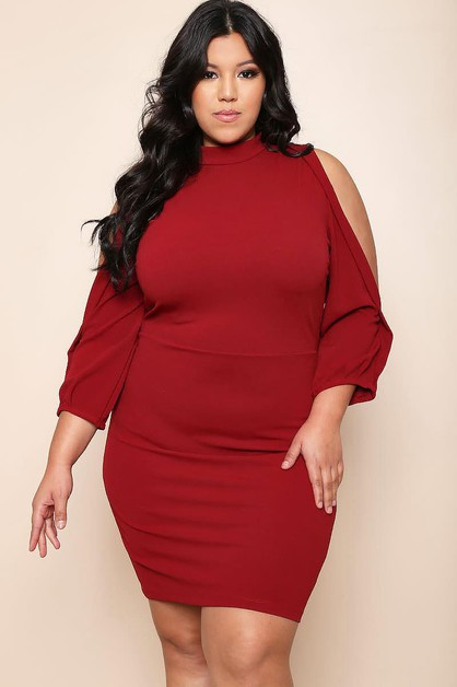 Plus Size Solid Mid Length Dress - orangeshine.com