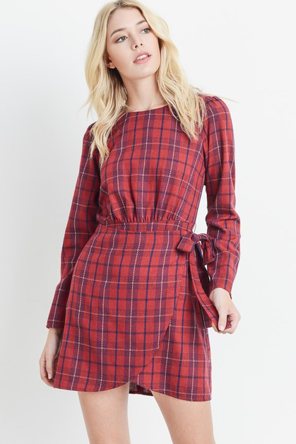Plaid Wrap Dress - orangeshine.com