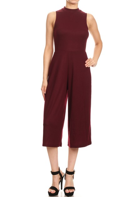 Wide Leg Jumpsuits Solid Knit Mock - orangeshine.com