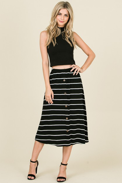 STRIPED SKIRT FEATURING BUTTON TRIM - orangeshine.com