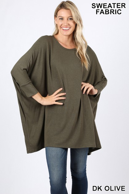 SWEATER FABRIC PONCHO WITH SLEEVES - orangeshine.com