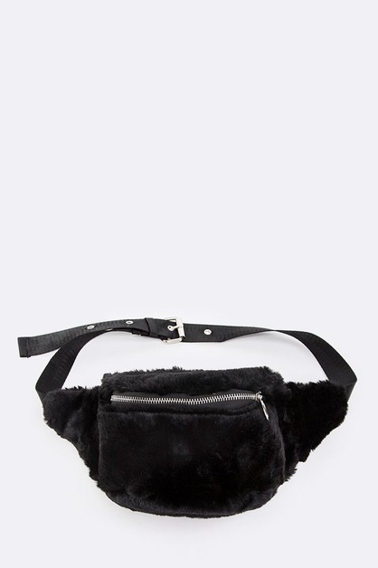 Faux Fur Plush Fanny Pack - orangeshine.com