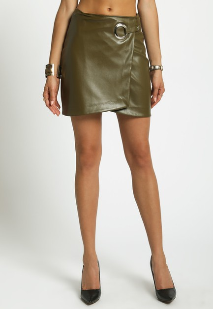GROMMET DETAIL WRAP MINI SKIRT - orangeshine.com
