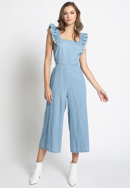 RUFFLE SHOULDER STRAP  JUMPSUIT - orangeshine.com