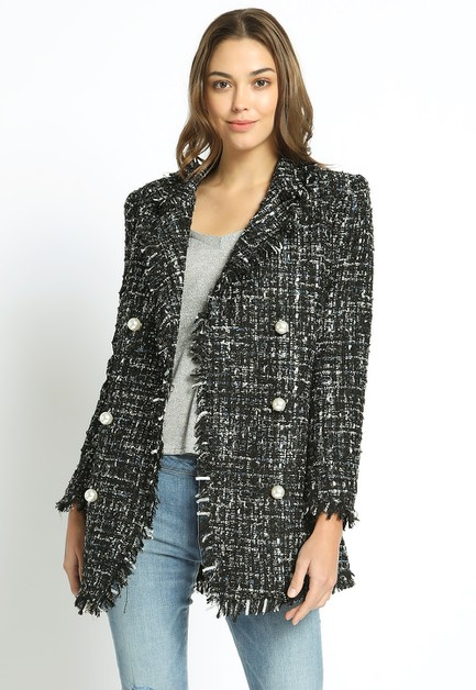 BOUCLE JACKET WITH PEARL BUTTONS - orangeshine.com